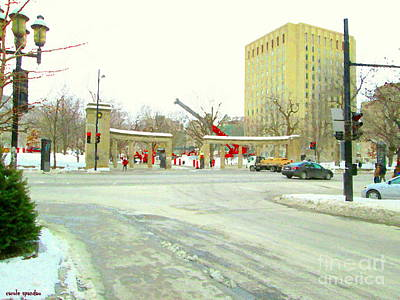 Quebec Streets Painting - Mcgill University Campus Sherbrooke Street Scene Early Morning Winter Day Montreal Carole Spandau by Carole Spandau