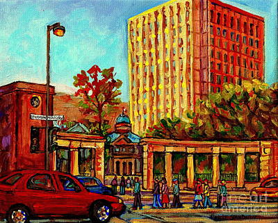 Montreal Buildings Painting - Mcgill University Roddick Gates Arts And Burnside Building Autumn In Montreal Paintings C Spandau by Carole Spandau