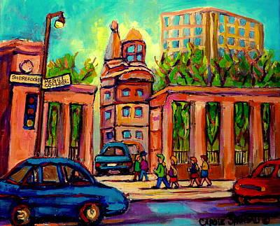 Roddick Gates Painting - Mcgill University Roddick Gates Montreal by Carole Spandau