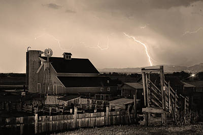 Farms Photograph - Mcintosh Farm Lightning Sepia Thunderstorm by James BO  Insogna