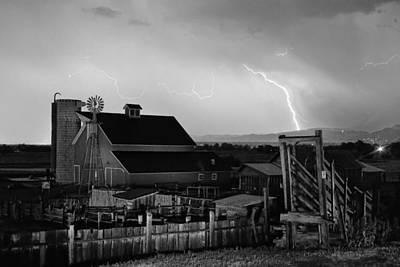 Mcintosh Farm Lightning Thunderstorm Black And White Art Print by James BO  Insogna