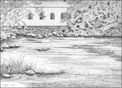 Drawing - Mckenzie River Covered Bridge by Lawrence Tripoli
