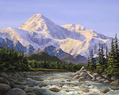Mountain Royalty-Free and Rights-Managed Images - Majestic Denali Mountain Landscape - Alaska Painting - Mountains and River - Wilderness Decor by Karen Whitworth