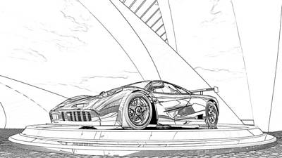 Digital Art - Mclaren F1 Sketch by Louis Ferreira