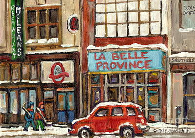 Hockey Painting - Mcleans Irish Pub Montreal by Carole Spandau