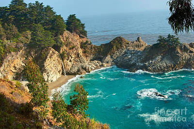 Mcway Falls Along The Big Sur Coast. Art Print by Jamie Pham