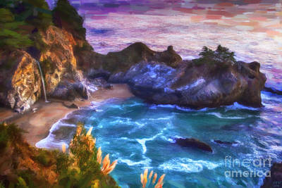 Big Sur Painting - Mcway Falls by David Millenheft