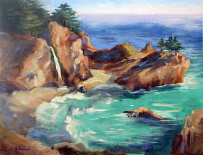 Deep Blue Painting - Mcway Falls, Big Sur by Karin  Leonard