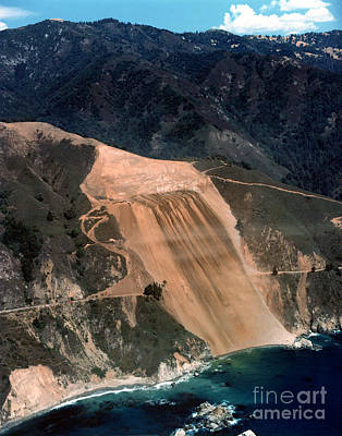 Photograph - Aerial Of Mcway Landslide Big Sur California 1984 by California Views Mr Pat Hathaway Archives