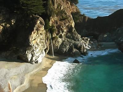 Pfeiffer Painting - Mcway Waterfall Big Sur by Studio Artist
