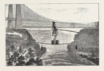 Lake Erie Drawing - Mdlle. Spelterini Crossing The Niagara River  On A Tight by Canadian School