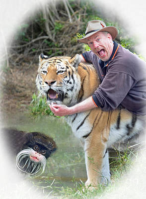 Photograph - Me My Tiger And My Emperor Tamarin   by Jim Fitzpatrick