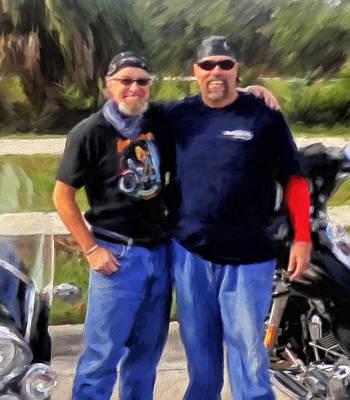 Harley Davidson Painting - Me N' Bro by Michael Pickett