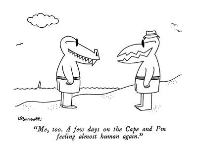 Bathing Drawing - Me, Too.  A Few Days On The Cape And I'm Feeling by Charles Barsotti