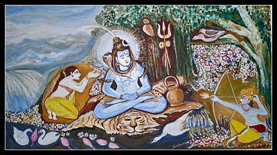 Painting -           Meditating Siva Being Disturbed By Kama Dev by Anand Swaroop Manchiraju