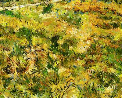 Provence Painting - Meadow After Van Gogh by Dragica  Micki Fortuna