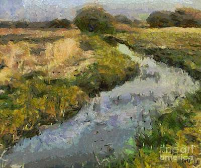 Rural Scenes Mixed Media - Meadow Creek by Dragica  Micki Fortuna