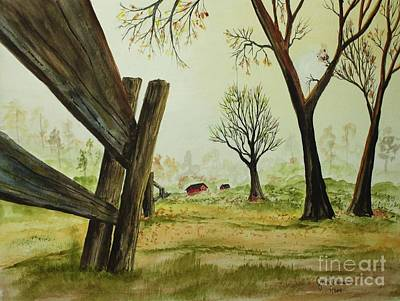 Meadow Fence Art Print by Jack G  Brauer