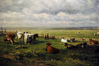 Daily Life Photograph - Meadow Landscape With Cattle, C. 1880, By Willem Roelofs 1822-1897 by Bridgeman Images