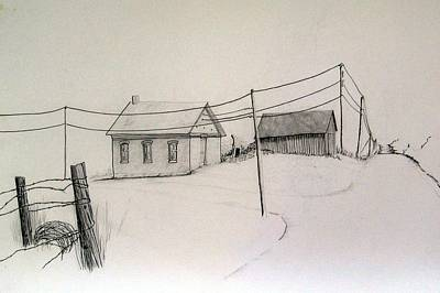 Telephone Wires Drawing - Meadow View School by Kathleen Barlament