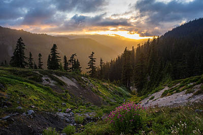 North Cascades Photograph - Meadows Dusk Horizons by Mike Reid