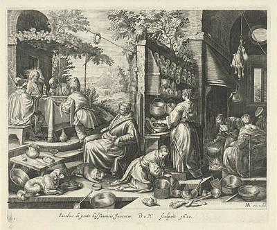 Blessings Drawing - Meal At Emmaus, Dirk Van Hoogstraten, Raphal Sadeler by Dirk Van Hoogstraten And Rapha?l Sadeler (i) And Hendrick Hondius (i)