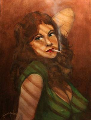 Film Noir Painting - Mean In Green by Tom Shropshire