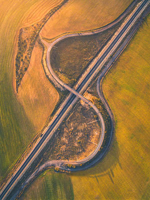 Aerial Photograph - Meander by Javier Del Cerro