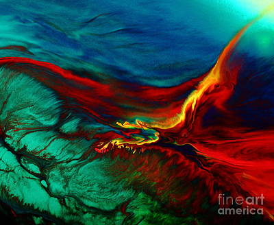 Meaningful Art-flying Above Modern Abstract Colorful Art By Kredart  Art Print