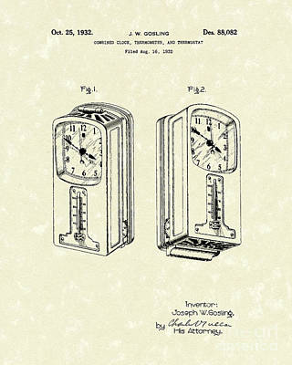 Clocks Drawing - Measuring Device 1932 Patent Art by Prior Art Design