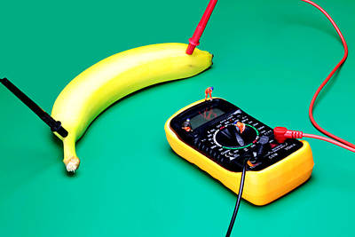 Photograph - Measuring Resistance Of A Banana Food Physics by Paul Ge