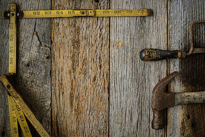Measuring Tape Hammer And Saw On Rustic Old Wood Background Art Print