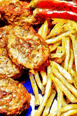 French Fried Painting - Meat Cutlets With Potatoes Painting by Magomed Magomedagaev