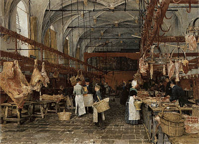 Painting - Meat Market In Middleburg by Hans Herrman