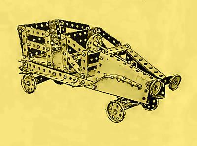 Meccano Steampunk Motorcar Coupe Art Print by Del Gaizo