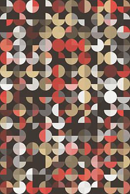 Retro Digital Art - Mechanic Geometric Circle Pie Vertical Pattern by Frank Ramspott