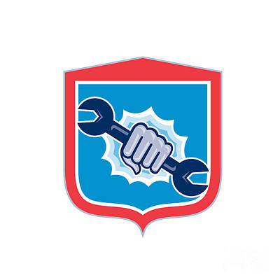 Punching Digital Art - Mechanic Hand Holding Spanner Shield Punching  by Aloysius Patrimonio