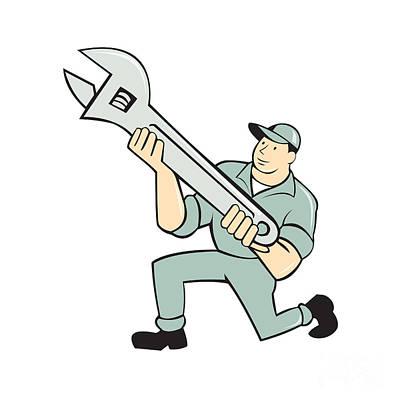 Mechanic Kneeling Holding Spanner Wrench Cartoon Art Print