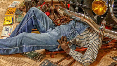 Duty Mixed Media - Mechanic On Duty by Dennis Dugan