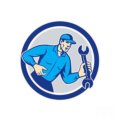 Mechanic Shouting Holding Spanner Wrench Circle Retro Art Print by Aloysius Patrimonio
