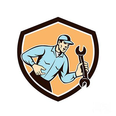 Mechanic Shouting Holding Spanner Wrench Shield Retro Art Print by Aloysius Patrimonio