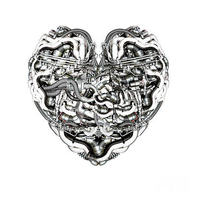 Mechanical Heart With Brain Art Print