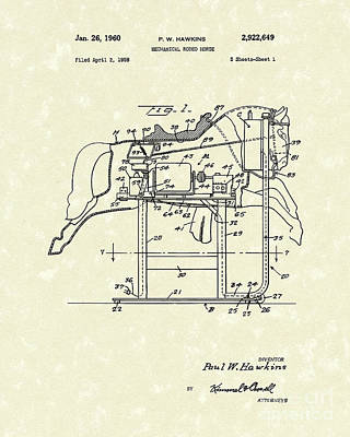 Mechanical Drawing - Mechanical Horse 1960 Patent Art by Prior Art Design