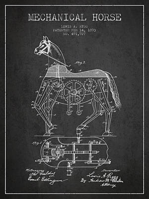 Animals Digital Art - Mechanical Horse Patent Drawing From 1893 - Dark by Aged Pixel