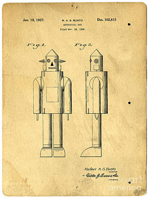 Photograph - Mechanical Man Patent by Edward Fielding