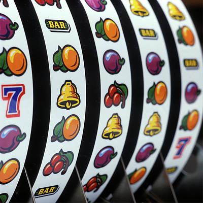 Mechanical Slot Machine Wheels Close-up Art Print