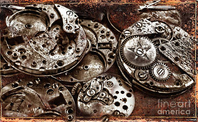 Photograph - Rusty Watch Mechanism by Daliana Pacuraru