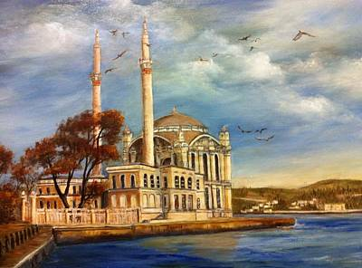 Bosphorous Painting - Mecidiye Mosque by Didem Gungor Walker