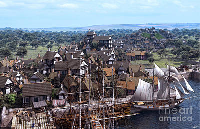 Pirate Ship Digital Art - Med Village by Dominic Davison