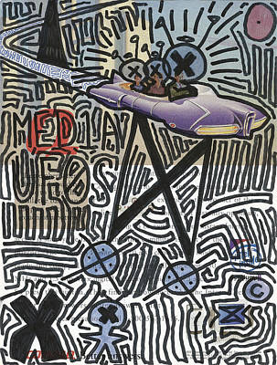 Versace Drawing - Med1a Uf0s Flying In Mothership by Edward X